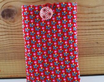 pochette  housse  téléphone coton à fleurs