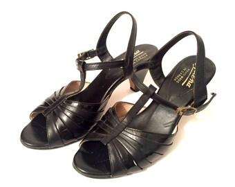 SALE--- Vintage 1950's Black Peep Toe Heels / Size 6.5 / Mary Jane T-Strap Dancing Shoes