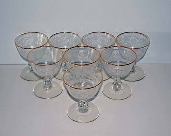 Set of 8 Elegant Gold Rimmed Footed 6 Ounce Champagne/Tall Sherbet Cups with Stippled Floral Design - Pattern: Lace by Libbey Glass Company
