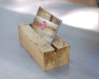 Business Card Holder, Wood Business Card Holder, Natural Wood, Office Decor, Desk Decor, Card Holder, Business Card Display - FREE Ship