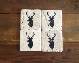 Deer Head Tumble Stone Coasters (Black)