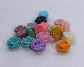 SMALL ROSE Cabochons - Lot of 24 Assorted Roses - 12mm - CHOOSE your Colors