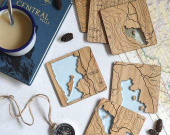 Map Coasters: laser etched maps on oak, a gift for walkers, hikers, dads & groomsmen