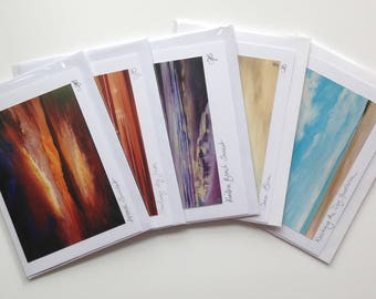5 sunset and beach blank greetings cards of original paintings by Tracy Butler