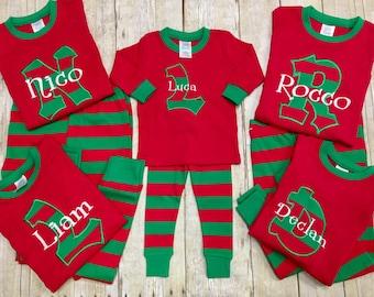 Personalized Christmas Pajamas/ Kids Christmas PJ's / Christmas Jammies/ Monogrammed Pajamas/ Holiday Pajamas/ Matching PJ's- size NB-3XL