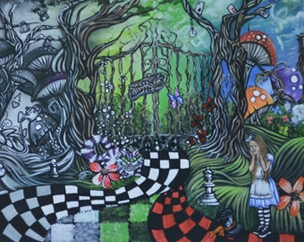 Alice In Wonderland Colorful Art Print 8 x 16 Color to Black and Gray