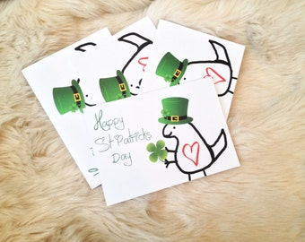 Pack of  Dinosaur cute St. Patrick's day cards.