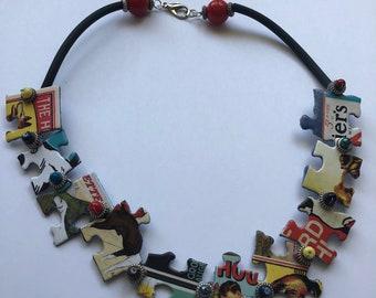 Multi-Colored Vintage Dog Puzzle Necklace #1