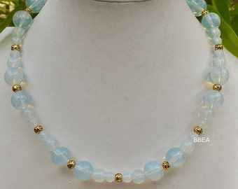 Necklace Opalite beads 6,8 and 10mm and silver Tibetan Golden beads