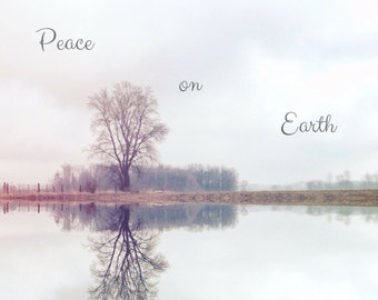 Peace on Earth Photo Greeting Card, 4x5 christmas cards, blank inside, merry christmas, festive holiday card winter seasonal tree greetings
