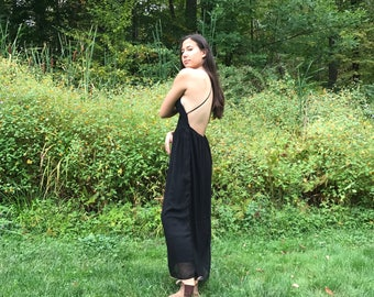 Black Backless Maxi Racerback Dress