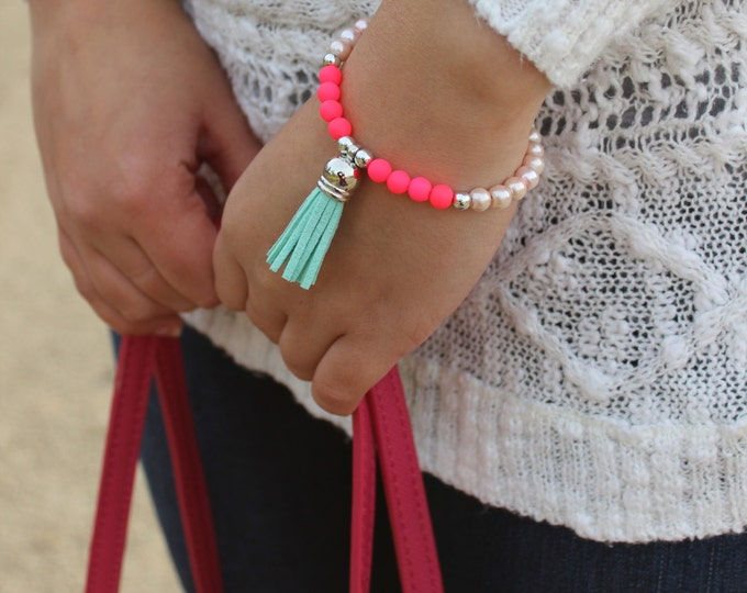 Fluro Pink, Pearl and Turquoise Tassel Bracelet.