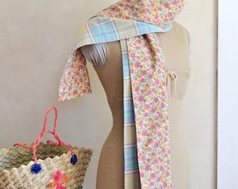 Scarf/Wrap w/ Floral Cotton Print Lining Pale Yellow & Blue Washable Merino Plaid