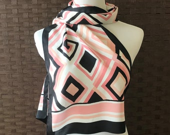 Vitnage Long Scarf/ Pink White Black Scarf/ Vintage Scarf/ Accessories/ Long Silky Feel Scarf/ Scarves