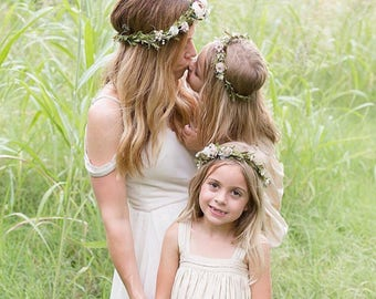 Flower crown- Mommy and Me flower crowns- bridal flower crown- Well dressed wolf- baby flower crown- Flower Girl crown- wedding headpiece