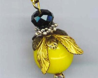 Bee Pendant . Yellow Glass Beads . Bee Keeping . Golden Wings . Black Crystal Beads . Organic Honey - I'm a Bee by enchantedbeas on Etsy