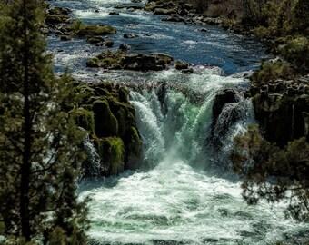 """Landscape Photography - """"Steelhead Falls Vertical"""" Oregon nature photography, waterfall, cascades, blue, green, brown, unframed print"""