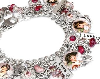 Valentine Bracelet, Love Bracelet, Valentine Jewelry, Valentine Charm Bracelet, Heart Bracelet