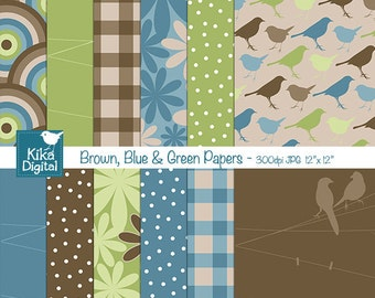 SALE Brown Blue Green Digital Papers - Scrapbooking, card design, invitations, stickers, paper crafts, web design - INSTANT DOWNLOAD