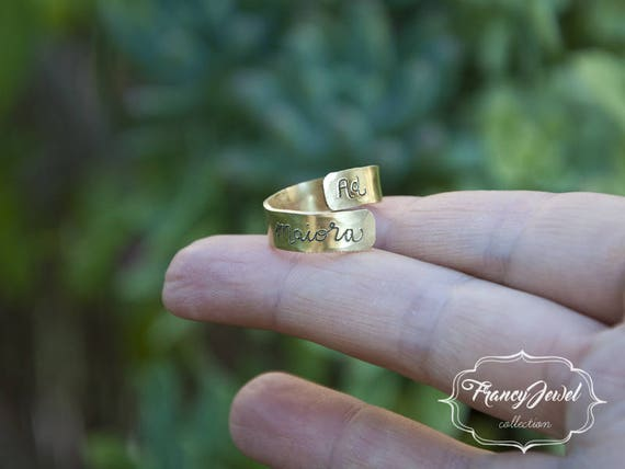 Engraving ring, ad maiora, freehand made engraved, custom ring, brass ring, nichel free, made in Italy, customized writing, handmade jewelry