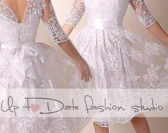 Short wedding dress etsy lace short wedding dress open back reception bridal gown34 junglespirit Images