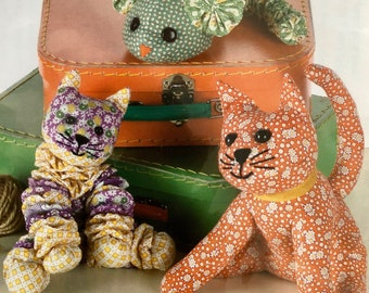 Indygo Junction Cloth Doll Pattern Yo-Yo CAT & MOUSE Delightful Soft Sculpture Project Kitty Cat Lover Sewing Fun!