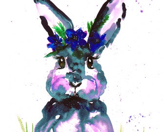 Bunny print Contemporary Watercolour ART PRINT Original LIMITED Edition Signed Watercolour 300 gsm Paper Free Shipping United Kingdom