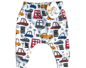 baby harem trousers cars colour , choose your size