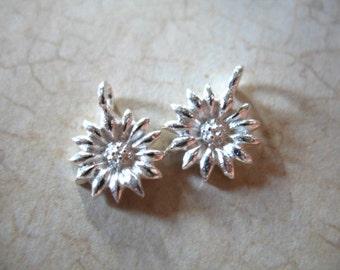 Shop Sale..  5 10 20 pcs, SUNFLOWER Pendant Charm, Sterling Silver Flower, 12x9.5 mm, floral brides bridal organic nature wholesale solo