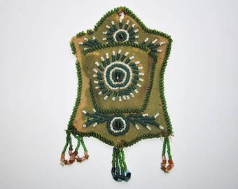 Mohawk Beaded Whimsy Match Holder Beadwork - All Original and Greasy Italian Seed Beads c. 1890