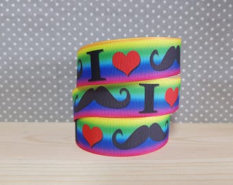 1 meter of Ribbon I LOVE MUSTACHE grosgrain Ribbon