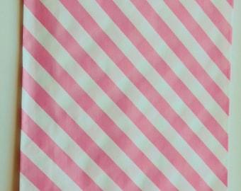 """6.25"""" x 9.25""""  Paper Merchandise Bags Pink  Diagonal Stripes on White Kraft  (20)"""