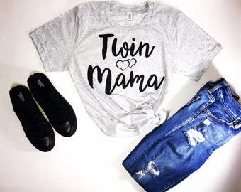 Twin Mom Triblend T-Shirt....Twin Mama Shirt, Mom of Twins Shirt, Gift for Mom of Twins