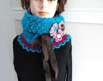 CROCHET PATTERN, Turquoise Cowl and Flowers, women's clothing, accessories, Spring Cowl, #785,  crochet cowl, crochet flower