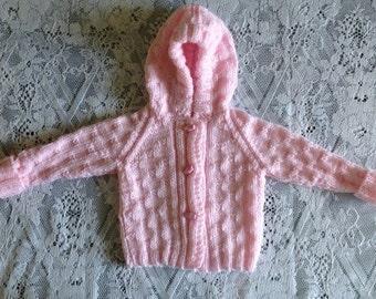 REDUCED PRICE Baby pink hooded aran jacket