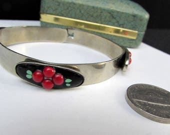 70s does 30s deco vintage enamel bangle bracelet red berries fruit | modernist unique layered stackable stacking costume jewelry unusual