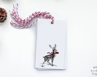 6 Gift Tags with strings - Deer with a Red and a Green scarf // Label, Card, Birthday, Gift Accessory, Christmas, Wine Label, Jam Label