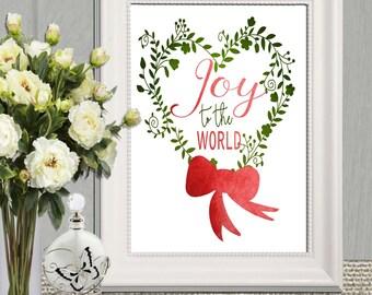 Christmas print 4x6 5x7 8x10 Christmas decor Instant Download Joy to the World Holiday Decor Christmas Printable Christmas Decoration Winter