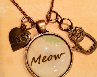 Kitty necklace, meow, meow jewelry, cat jewelry, kitty jewelry, cat necklace, cat, cat jewelry, meow necklace