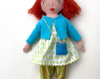 Little Girl Red-haired doll wool with Pear Dress