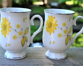 YELLOW DAISY MUGS Set of Two Floral Daisy Porcelain Ceramic Coffee or Tea Mugs