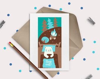 Sleep well bear - digital stamp