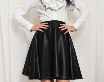 High Waisted Faux Vegan Leather Skater Skirt. Wet Look Circle skirt. Retro 1950s Pin up. Made to measure XS S M L XL XXL 3XL