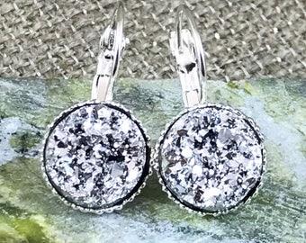Silver Druzy Earrings - Leverback Earrings - Bridesmaid Gift - Flower Girl Earrings - Druzy - Jewelry - Silver - Wedding Jewelry - Earrings