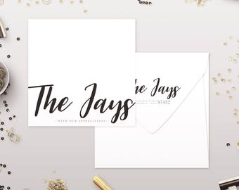 Modern Thank You Cards - Simple Wedding Thank You Notes - Return Addressing - Available in Any Color - RSVP by Cirque Social
