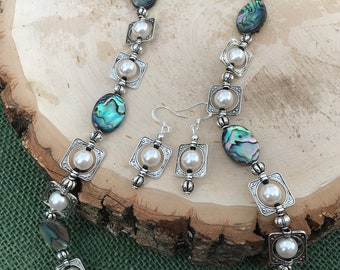 Beautiful Abalone Necklace and Earring Set with Pewter Frames and White Glass Pearls