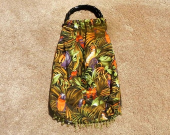 Bead Fringe Purse Bag Tote Jungle Tropical Design Birds Parrots Plants With Black Handles and Fully Lined