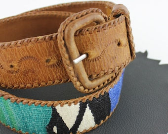 "Rainbow Braided Southwestern Tobacco Brown Leather Belt Size 29"" to 33"""