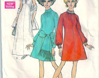 Vintage 1960s Simplicity Sewing Pattern 8540 Misses Dress in Two Lengths Size 12 Bust 34
