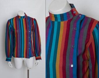 vintage 80s striped asymmetrical blouse